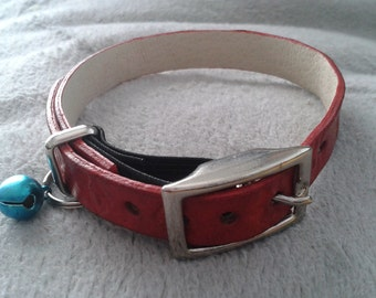 Ella Selection Red Leather Cat Collar