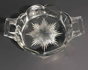 Krystol Butter Dish Antique Handled Dish Kry-Stol Clear Glass EAPG