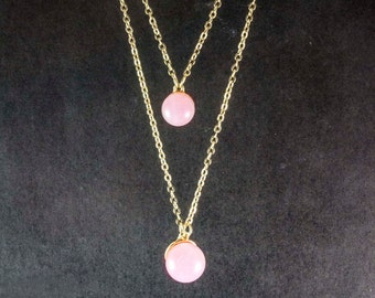 Gilded double necklace-delicate pink