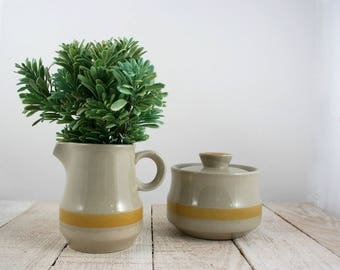 Vintage Stoneware, Stoneware, Sugar and Creamer Set, Creamer and Sugar Set, Retro, Minimal Kitchen,Minimalist,Minimal Vintage,Yellow Kitchen
