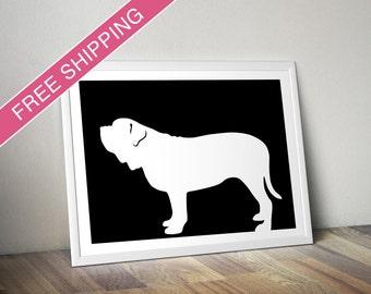 Neapolitan Mastiff Print - Neapolitan Mastiff Silhouette, dog portrait, modern dog home decor, dog art