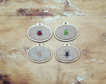 Set of 4 Tiny Insects in Miniature Embroidery Hoops - Black Ant - Green Beetle - Golden Beetle - Ladybird
