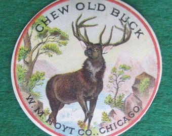 Rare 1890's Old Buck Tobacco W M Hoyt Co Chicago Label - Free Shipping