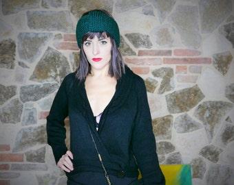 Vinatge Sweater wool crossover neckline black OOAK Made in Italy