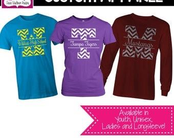 CUSTOM APPAREL: Custom Block Letter with School Name School Sprit Shirt, Teacher T-Shirt