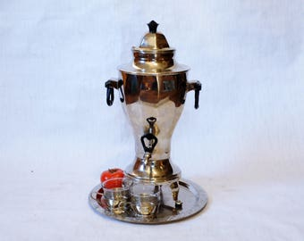 Soviet Russian Samovar- Cups and Tray -Working -  Electric Metal Tea Pot - Nickel Plated Brass - 1960s - from Russia / Soviet Union / USSR
