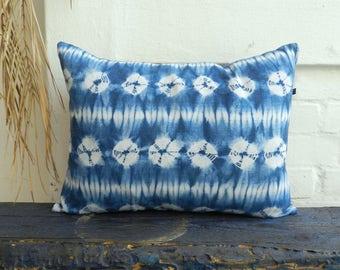 Indigo pure Linen Shibori Pillow Denim Blue Aizome Shell pattern Jacquard cushion 40 x 50 cm 16 x 20 inches