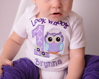 Owl First Birthday Shirt -- Look Whoo's One Birthday Outfit --Owl Birthday Shirt -- 1st Birthday Girls Owl Shirt -- You pick pieces