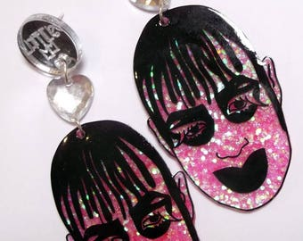 Leigh Bowery Club Kid Icon pink glittery statement earrings with heart gems