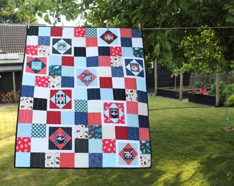 Pirate quilt - modern baby quilt - READY TO SHIP - patchwork - nautical kids quilt, wall hanging, nursery decor, playmat - boys, toddler