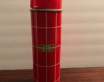 King Seeley Metal Quart Thermos, Vintage Red Thermos, Vacuum Bottle No. 2434
