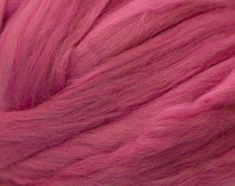 Dyed Merino - Fuchsia- Solid color commercial dyed - combed top roving spinning felting fiber fibre arts - dark pink