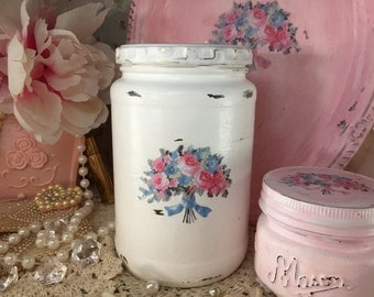 Shabby Chic Glass Jar Canister Painted White Decoupage Floral Lid Bouquet Flowers Storage Decorations Decor Kitchen Nursery Office Home Gift