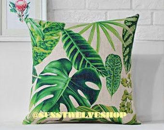 Spring Season Tropical Green Leaf Pattern B Cushion Covers Pillow Covers 43cm x 43cm