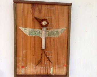 Heron- Found Object Bird Art