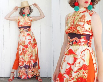 Vintage 70s Dress | 70s Sleeveless Asian Print Tunic Dress with High Slits | Small