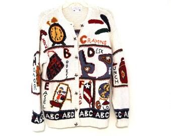 Vintage 80s Ugly Sweater Teacher school ABCs recess