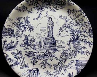 Set of four Tiffany toile plates