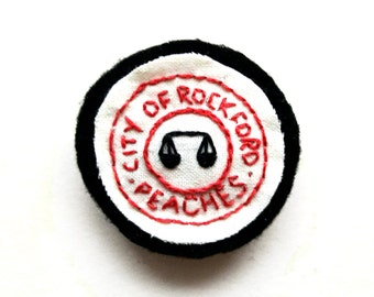 City of Rockford Peaches Baseball Fan Club Hand-Made Embroidered Merit Pin Back Badge Brooch Patch