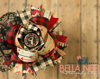 Rustic//Holiday//Gingham//Deer//Country//Christmas//Holiday//Hair Bow