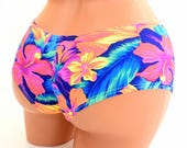 Tahitian Floral NEON UV Glow Print Ultra Cheeky Booty Shorts EDC Rave Booty 154322