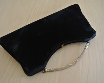 Black Velvet Clutch Minimalist Style Bamboo Metal Handle