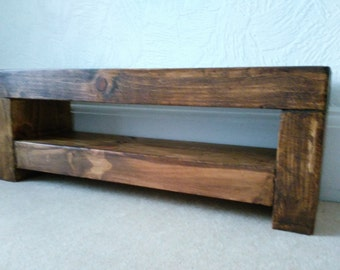 Slim Tv stand in chunky rustic wood finished in medium oak
