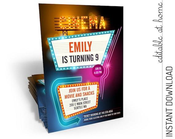 Movie Birthday Invitation INSTANT DOWNLOAD