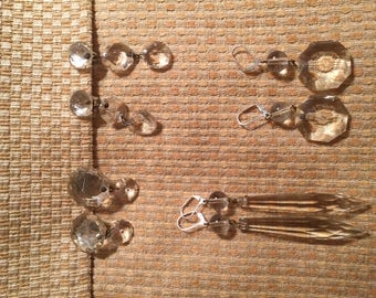 Vintage Chandelier Crystal clip on and pierced Earrings