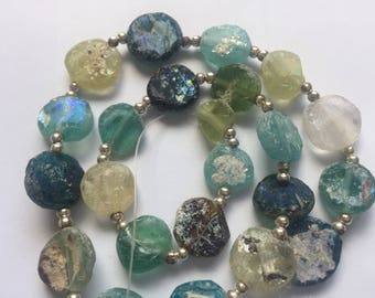 Beautiful Mulicolor Ancient Roman Glass Beads with Extreme Patina  1000-1500 Yrs Old RG2002