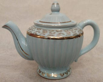 Blue Tea Pot with gold accents