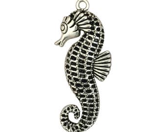 2 Silver Seahorse Pendant Extra Large 65x28mm by TIJC SP0817