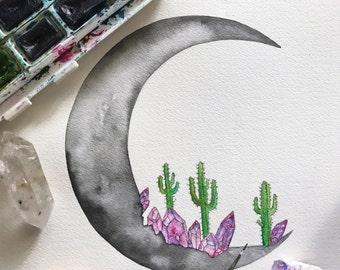 Crescent Moon - Crystals + Cacti