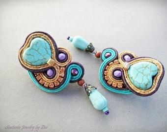 Turquoise Soutache Heart Stud Earrings, Purple Teardrop Earring, Soutache Jewelry, Gift for Wife, Small Boho Earrings, Turquoise Jewelry