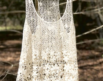 Crochet Tank top boho Floral embroidery blouse Top Tee