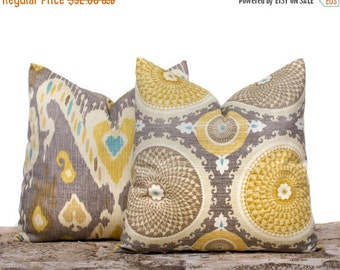 SALE ENDS SOON Taupe Throw Pillow Cases,Yellow Pillow Covers, Modern Pillow Covers, Ikat Pillows, Geometric Pillows, Set of 2, 16x16