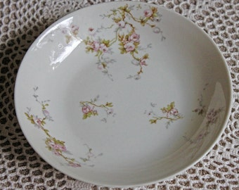 Antique Limoges Redon Berry Bowl Replacement. Tiny Pink Roses and Leaves Pattern. Fine French Porcelain Table Ware Replacement.