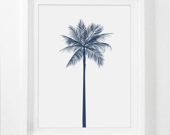 palm tree decor navy wall decor navy wall print palm artwork blue - Palm Tree Decor