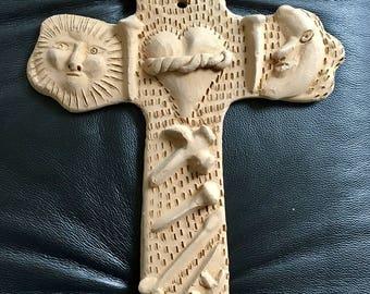 Vintage Mexican Clay Folk Art Wall Cross