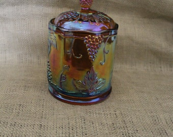 Amber Carnival Glass Canister/Cookie Jar