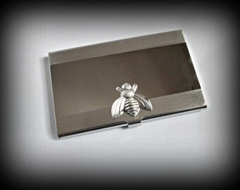 Fly business card holder-credit card holder-bee stainless steel card holder-gothic card holder-steampunk card holder