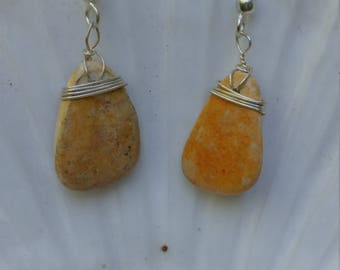 Pottery seaglass earrings wrapped in sterling silver wire