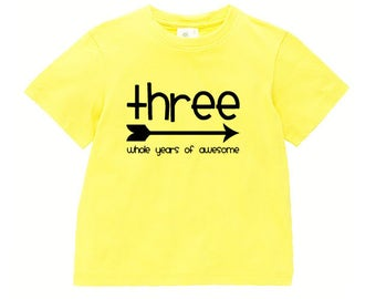 Three Whole Years Of Awesome Birthday Tee, Boys T-Shirt For 3rd Birthday. Yellow Short Sleeve T-Shirt, Boho Arrow Design, Australian Owned