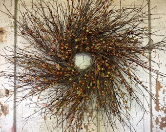 Brush Twig and Mixed Pip Berry Wreath Green & Neutral - 26""