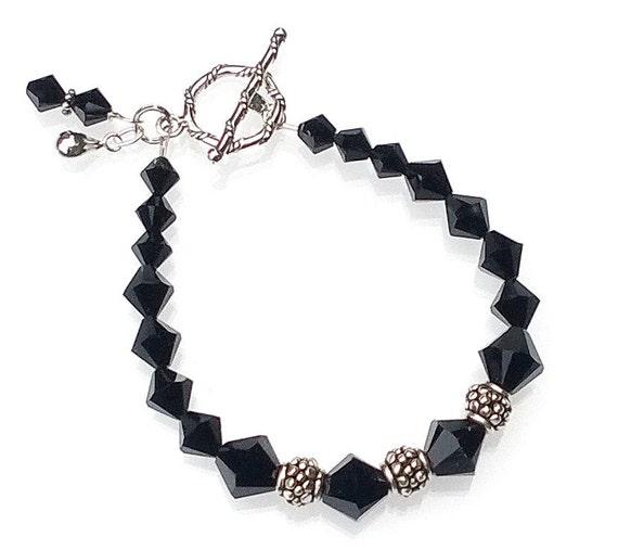 Jet Swarovski Crystal Bracelet, Black Bracelet, Crystal Bracelet
