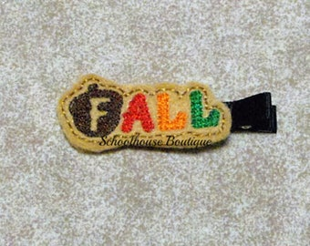 Fall Felt Hair Clips with your choice of ribbon color,Felties,Feltie Hair Clip,Felt Hairbow,Felt Hair Clippie
