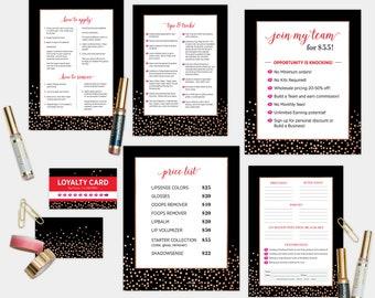 LipSense Marketing Material Set - Black Dots Pattern  (7 items)