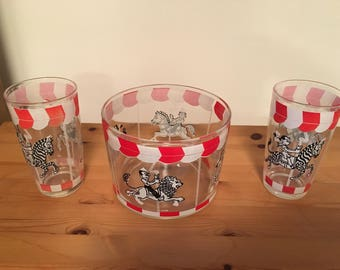 Vintage Hazel Atlas Ice Bucket Carousel Glass Ice Bucket & Tumbler Set