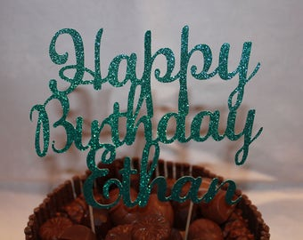 Personalised Happy Birthday Glitter Cake Topper, Various Colours Available