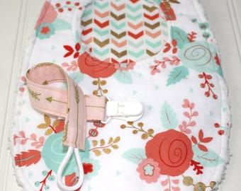 Baby Girl Gift Set - Baby Girl Shower Gift, Bib, Burp Cloth, Pacifier Clip,  Glitz Gold Baby Set, Peach, Aqua, Blush, Mint, Confection Gold